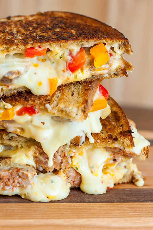25 delicious ways to spice up National Pepper Month l sausage and pepper chipotle grilled cheese