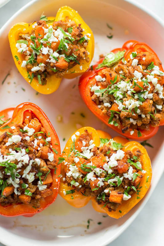 25 delicious ways to spice up National Pepper Month l ground turkey sweet potato stuffed peppers