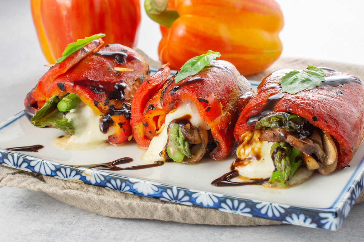 roasted peppers, roasted peppers recipes, roulades, appetizers