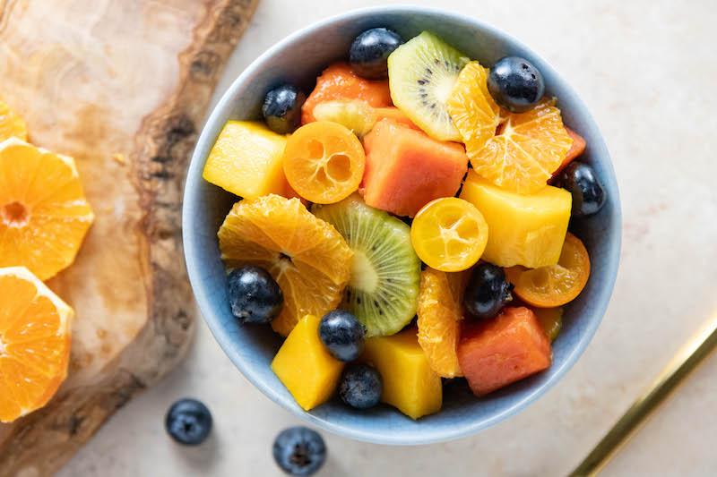 fruit salad, fresh produce, easter recipe, plant based