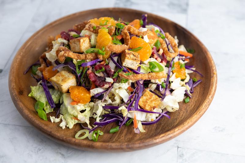 chinese salad, salad recipe, tofu recipe, easter recipe, plant based
