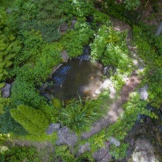 Aerial view of Koi Falls.