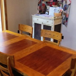 My Place dining table seats 8 - The Cove at Fairview - Vacation Rentals- Asheville, North Carolina