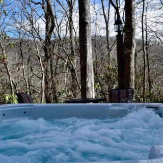 Amazing winter view from My Place hot tub - The Cove at Fairview - Vacation Rentals- Asheville, North Carolina