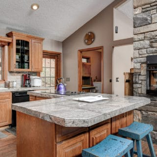 Granite Countertop in Our House Kitchen - The Cove at Fairview Vacation Rentals - Asheville NC