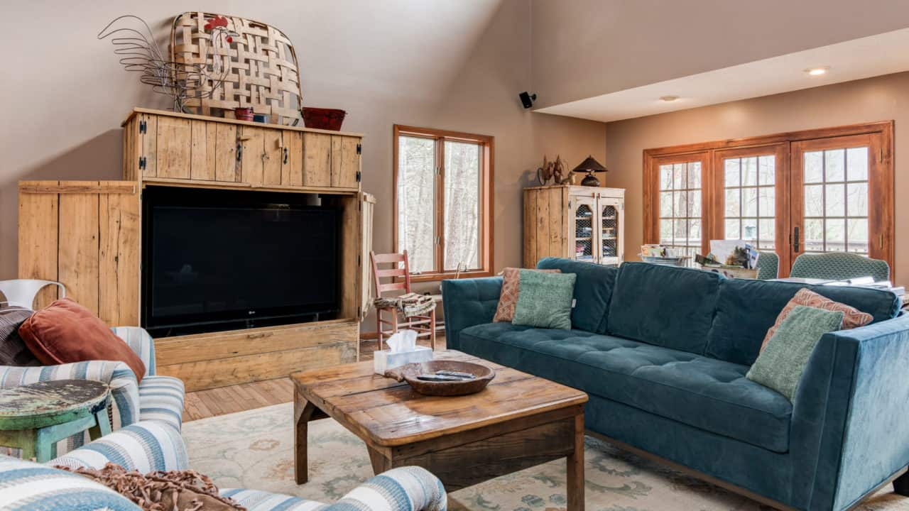 """60"""" HD TV in the Living Room of Our House - The Cove at Fairview Vacation Rentals - Asheville NC"""