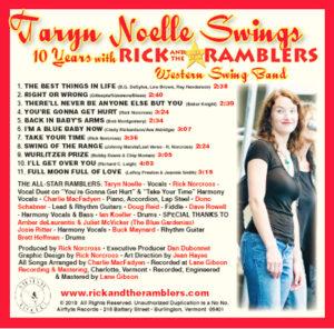 Back Cover of CD Taryn Noelle Swings with song list