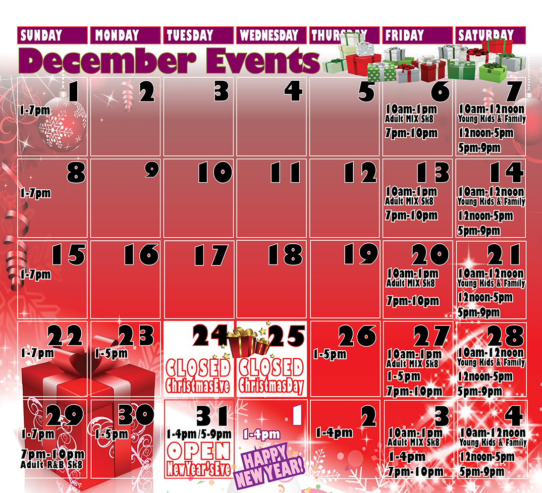 December Holiday Events & Hours