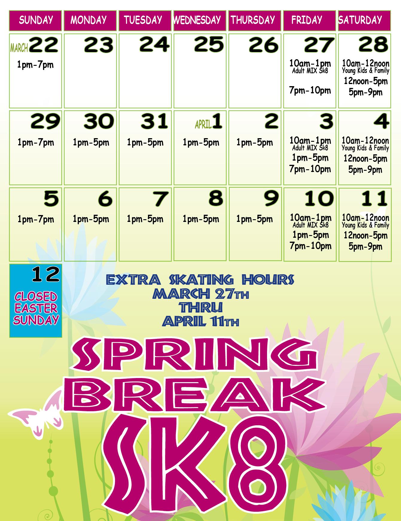 Extra Spring Break Sessions