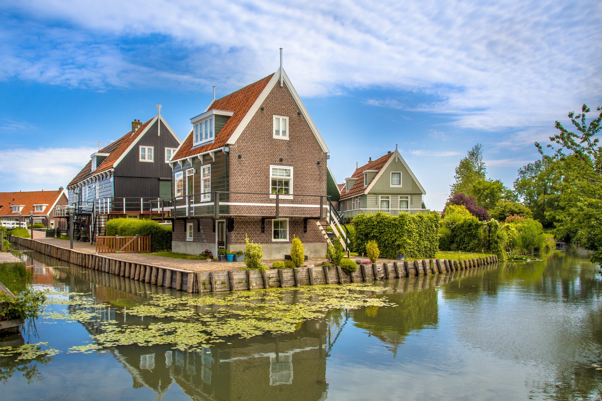 Beautiful typical fisherman village houses in Marken island