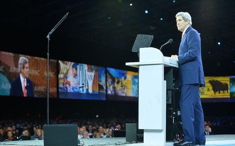 Secretario de Estado de los Estados Unidos John Kerry hablando en la conferencia de Comité de Asuntos Públicos Estados Unidos-Israel (AIPAC).