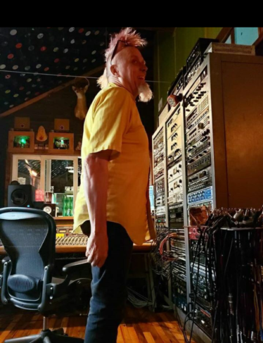 Goat in the control room - Happy Talk band recording