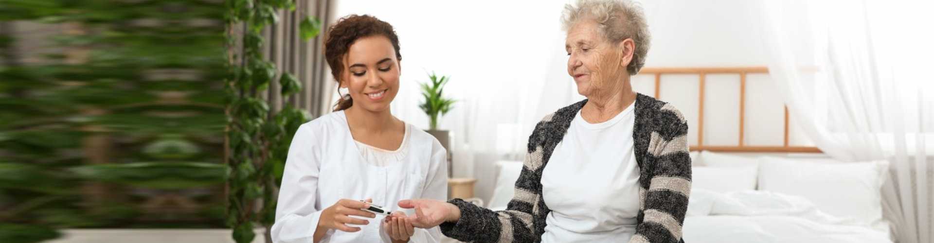 caregiver helping a patient