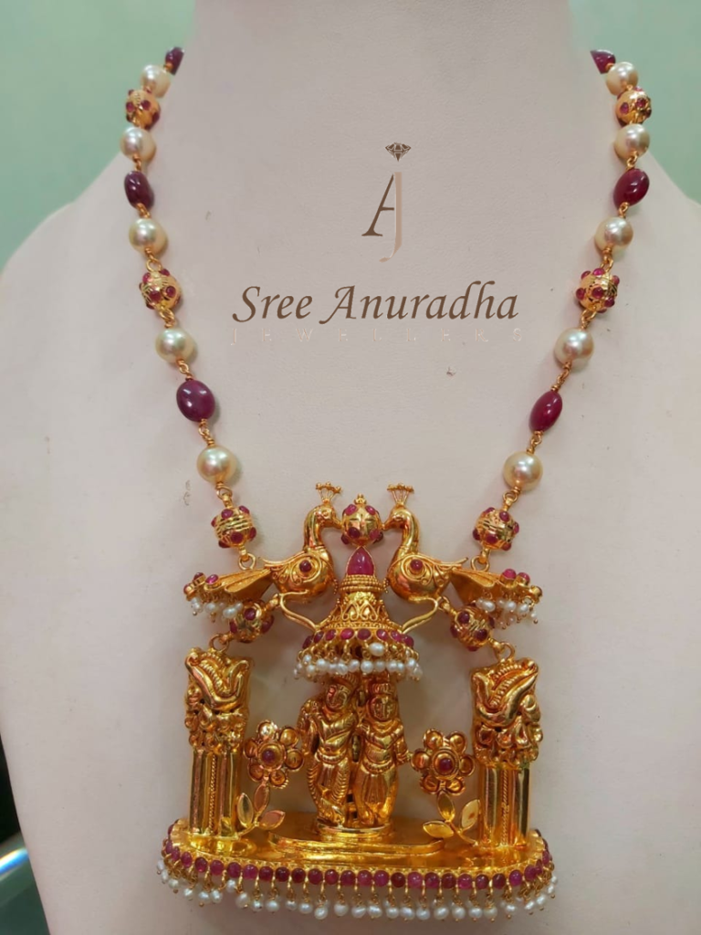 Radhakrishna pendent with Pearl's and ruby's