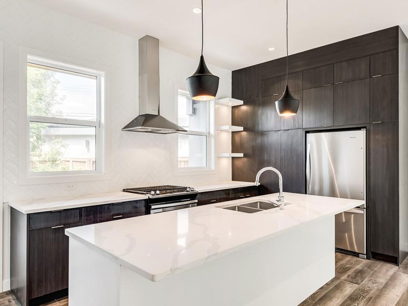 show home calgary kitchen with modern kitchen design by red tree projects