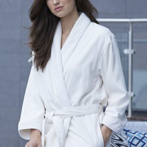 MICROFIBER SHIMMER LINED ROBE NATURAL