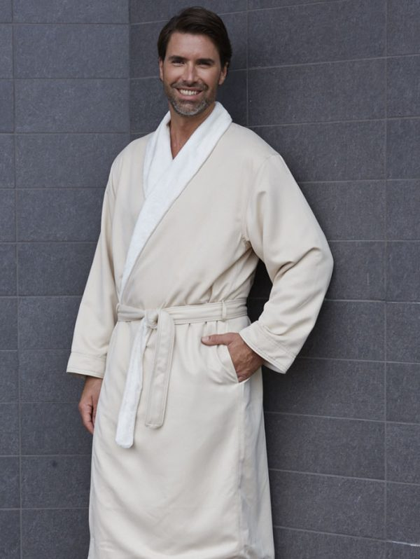 MICROFIBER SHIMMER LINED ROBE CHAMPAGNE
