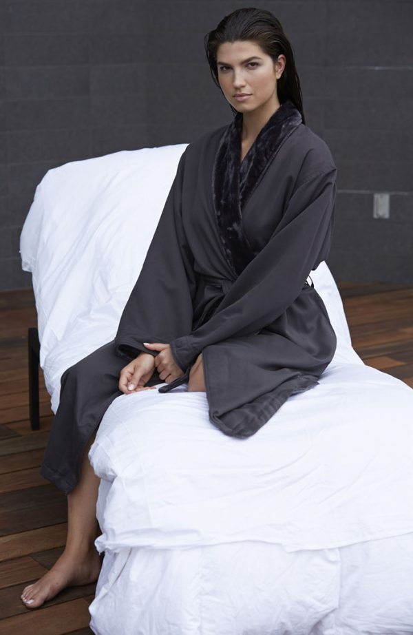 MICROFIBER SHIMMER LINED ROBE CHARCOAL