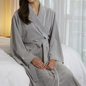 GREY DIAMOND MICROFIBER SHAWL COLLAR ROBE