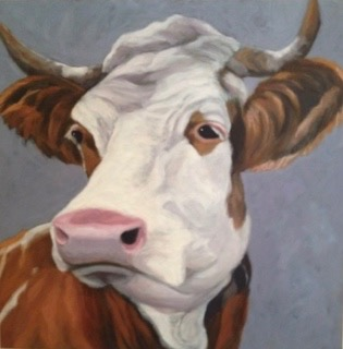Cow with horns on blue sold