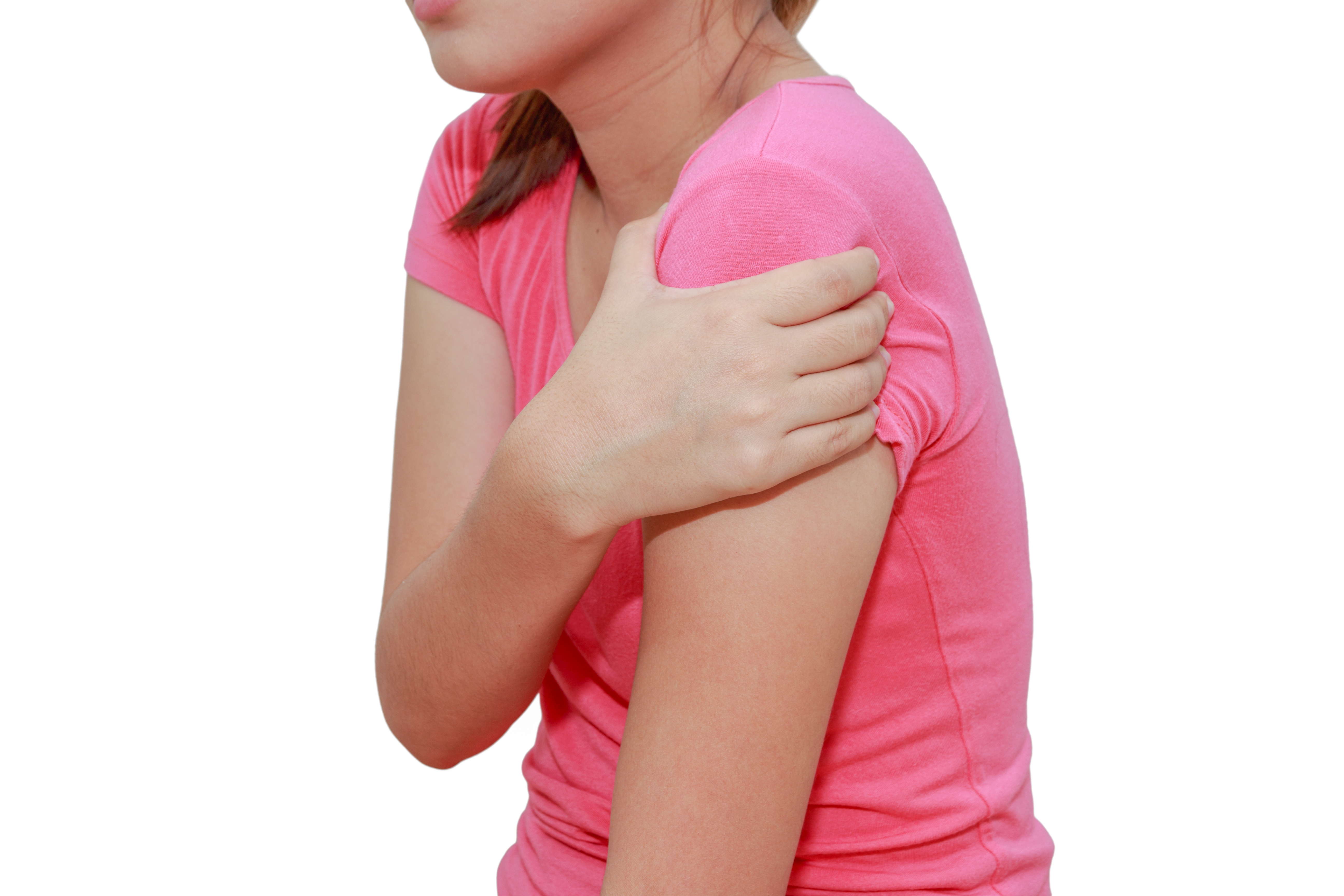 Woman shoulder or joint pain isolated on white background