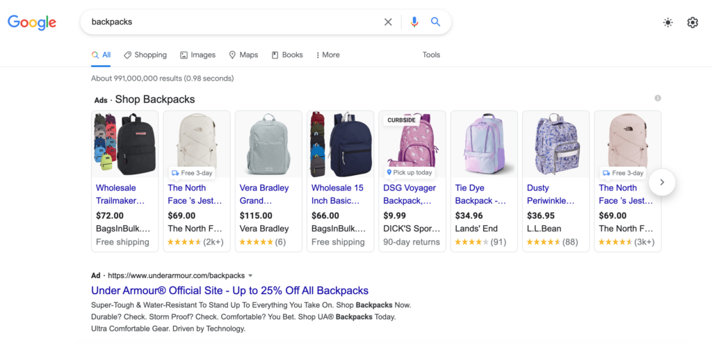 Google shopping search results for backpacks
