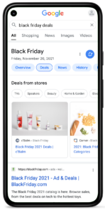 Black Friday search results in Google's deals carousel