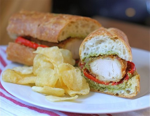 Chicken Cutlet Baguette with Gremolata and Roasted Red Pepper via The Naptime Chef