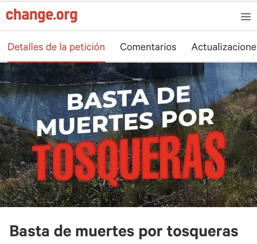 Basta de muertes por tosqueras