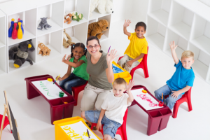 happy organized preschool classroom