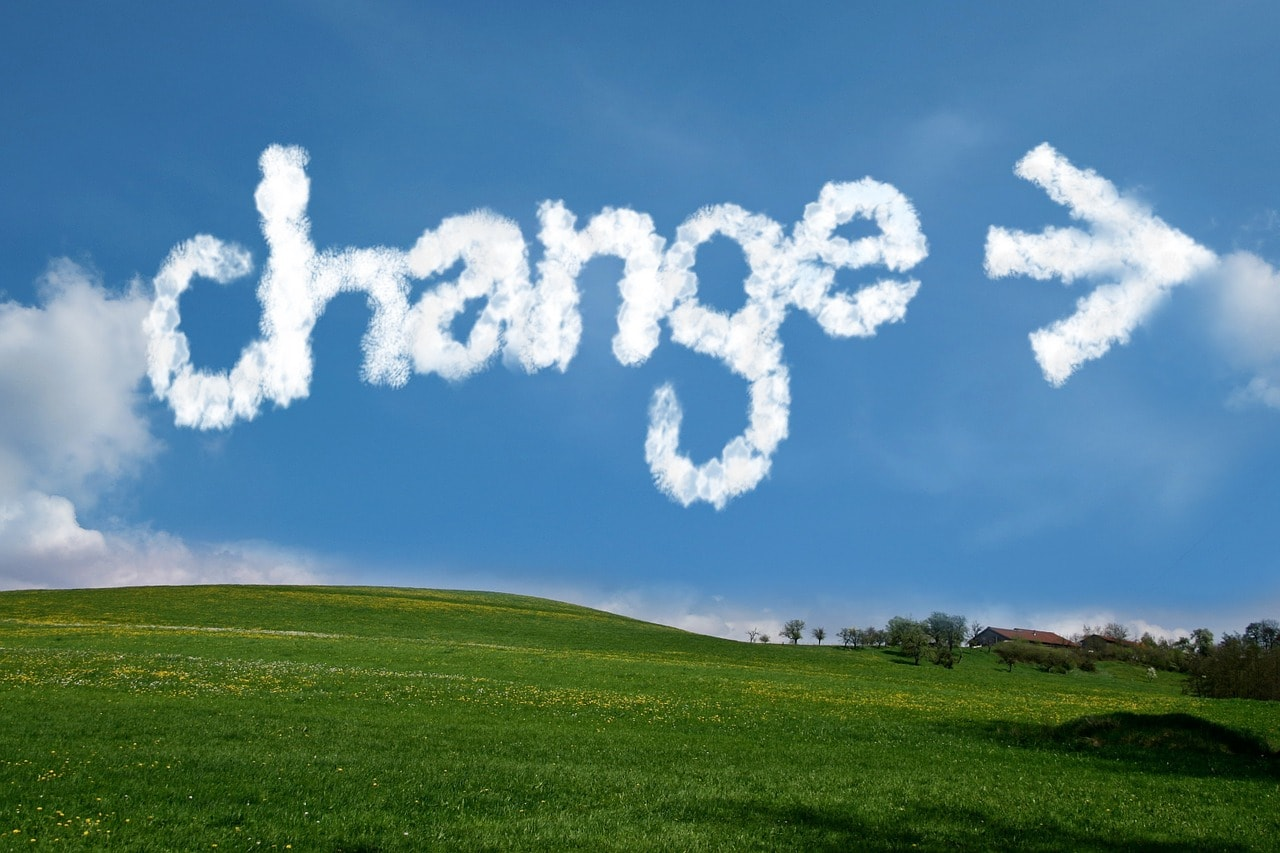 clouds with the word change