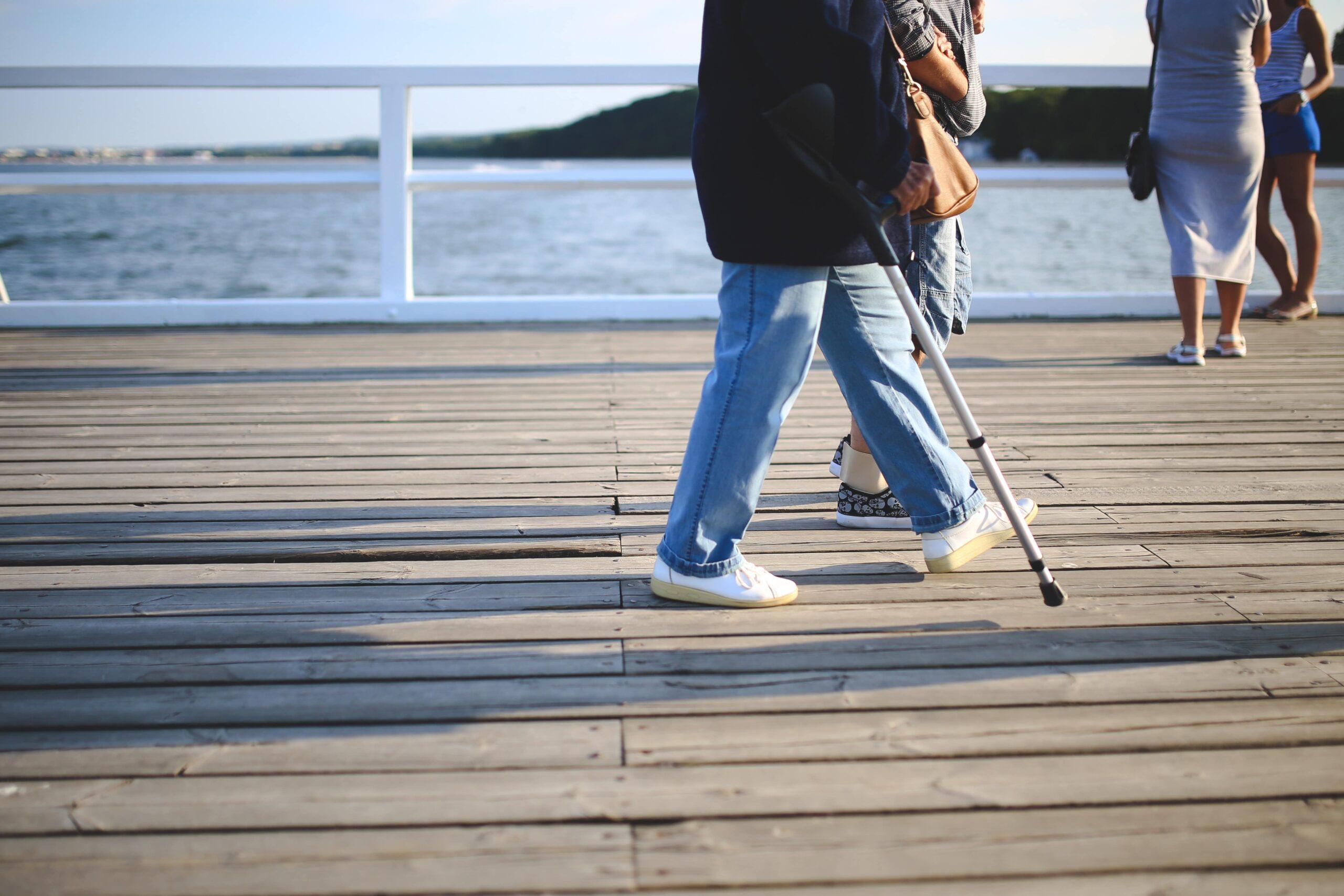Injured man walking