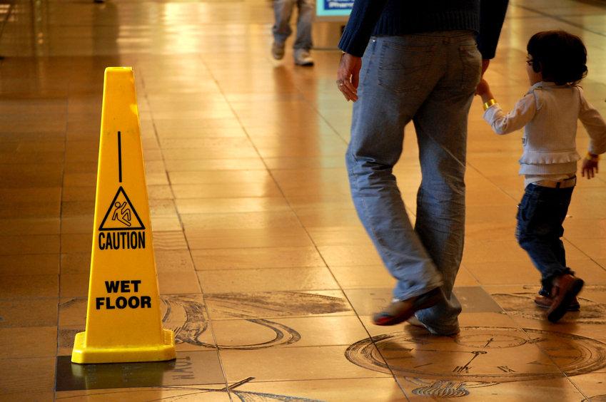 slip & fall caution sign