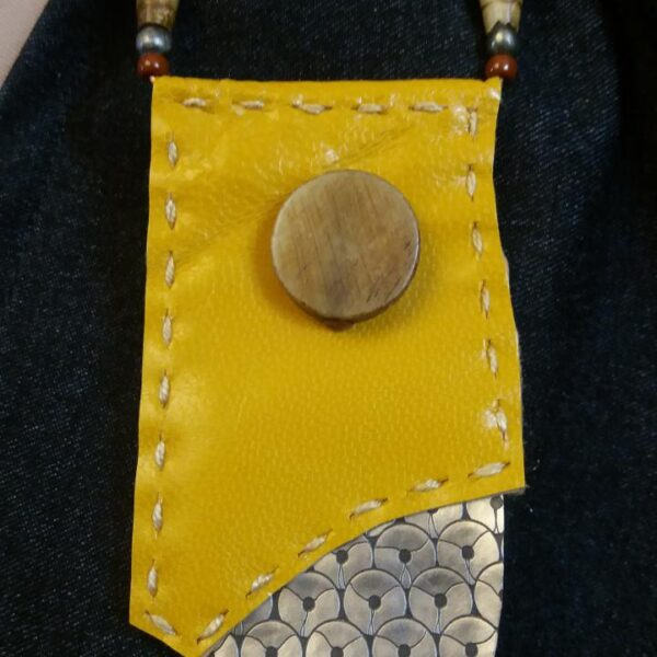 Leather Flag on Pin with Vinyl and Bone Beads