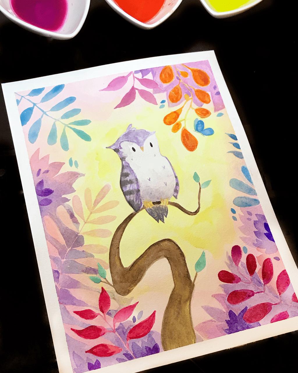 Watercolor Owl Study