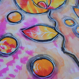 Mixed Media Art Journal Yellow & Pink Mermaid Marker Page