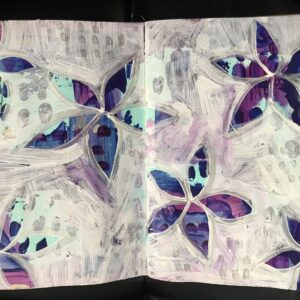 Purple Silver Flowers journal Page