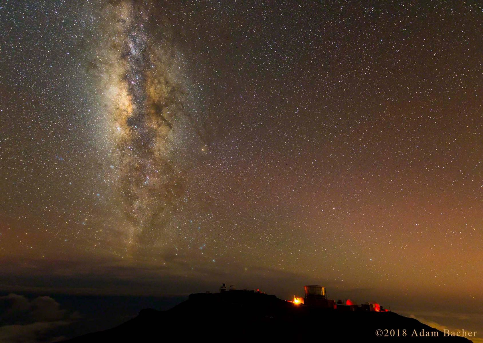 architecture of the universe: milky way night star photography,  telescopes on maui hawaii haleakala summit