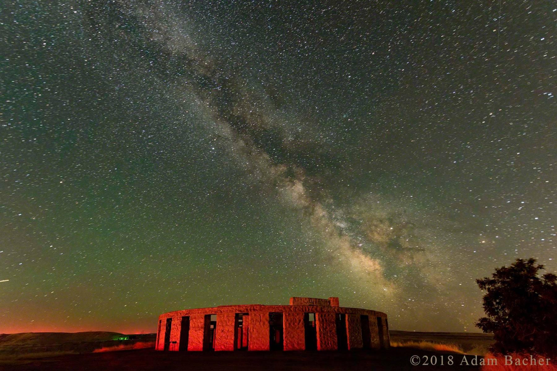 architecture of the universe: milky way night star photography,  world war one WW1 stonehenge memorial, maryhill, washington