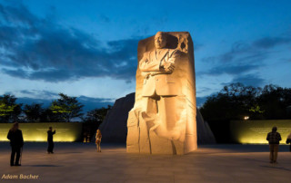 martin luther king memorial at night, washington dc, travel photography