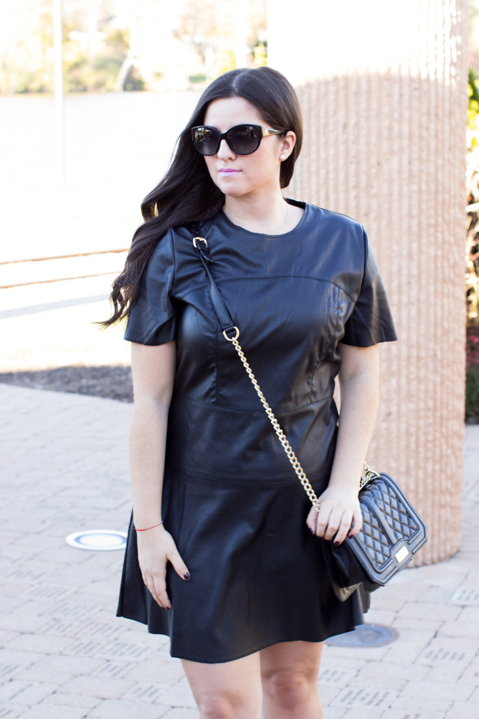 black leather dress, target fall collection. target dresses, black Fall dress, all black outfit, A-line black leather dress, short sleeve leather dress, what to wear to work, work appropriate outfit,