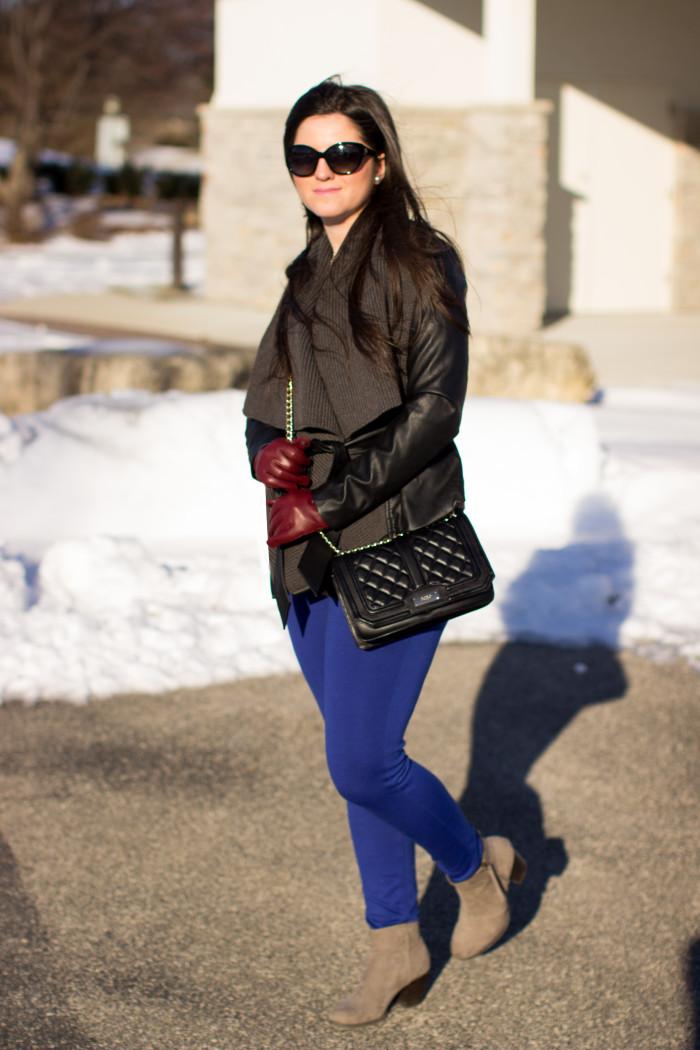 flyaway moto jacket, simply vera wang fashion, kohls jacket, winter sale, street style, fashion blogger, blue pants, suede booties