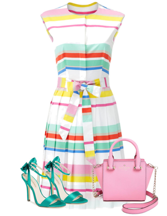 colorful spring dress, rent the runway dress, kate spade summer dress, kate spade colorful dress, rainbow dress,
