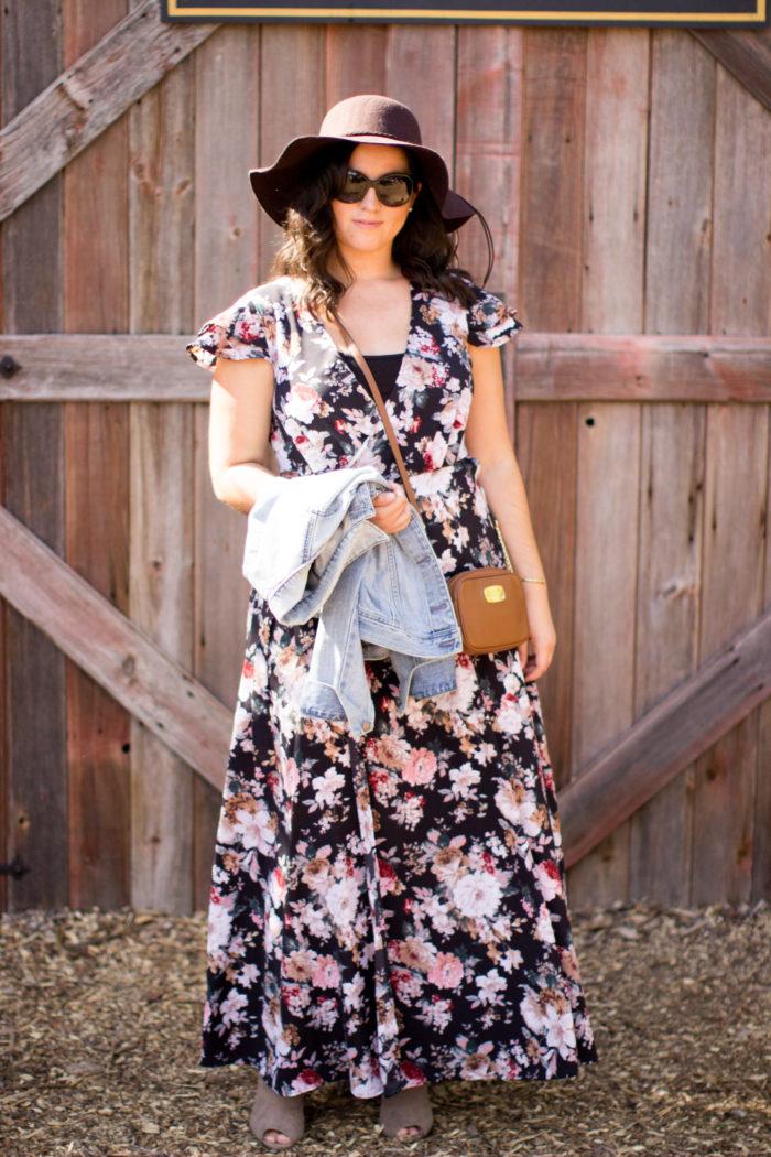 casual boho style dress, floral print maxi dress for fall, fall fashion, boho style dress for fall, suede open toe booties, denim jacket, michael kors crossbody