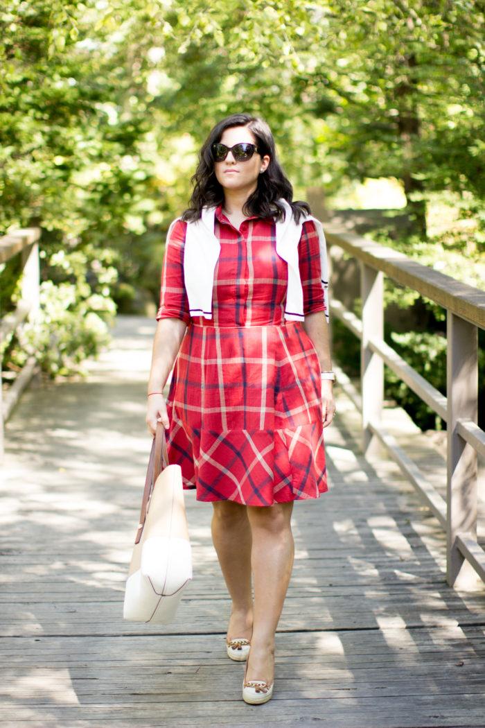 plaid dress for fall, eshakti dress, custom made dress, red plaid dress, preppy dress, casual fall dress, canvas wedges