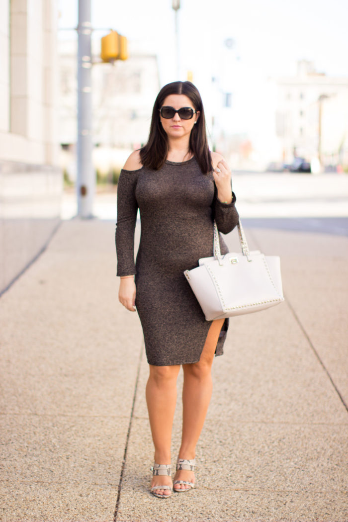what to wear for a night out, cold shoulder fitted dress, slit dress, bodycon dress, calvin klein heels