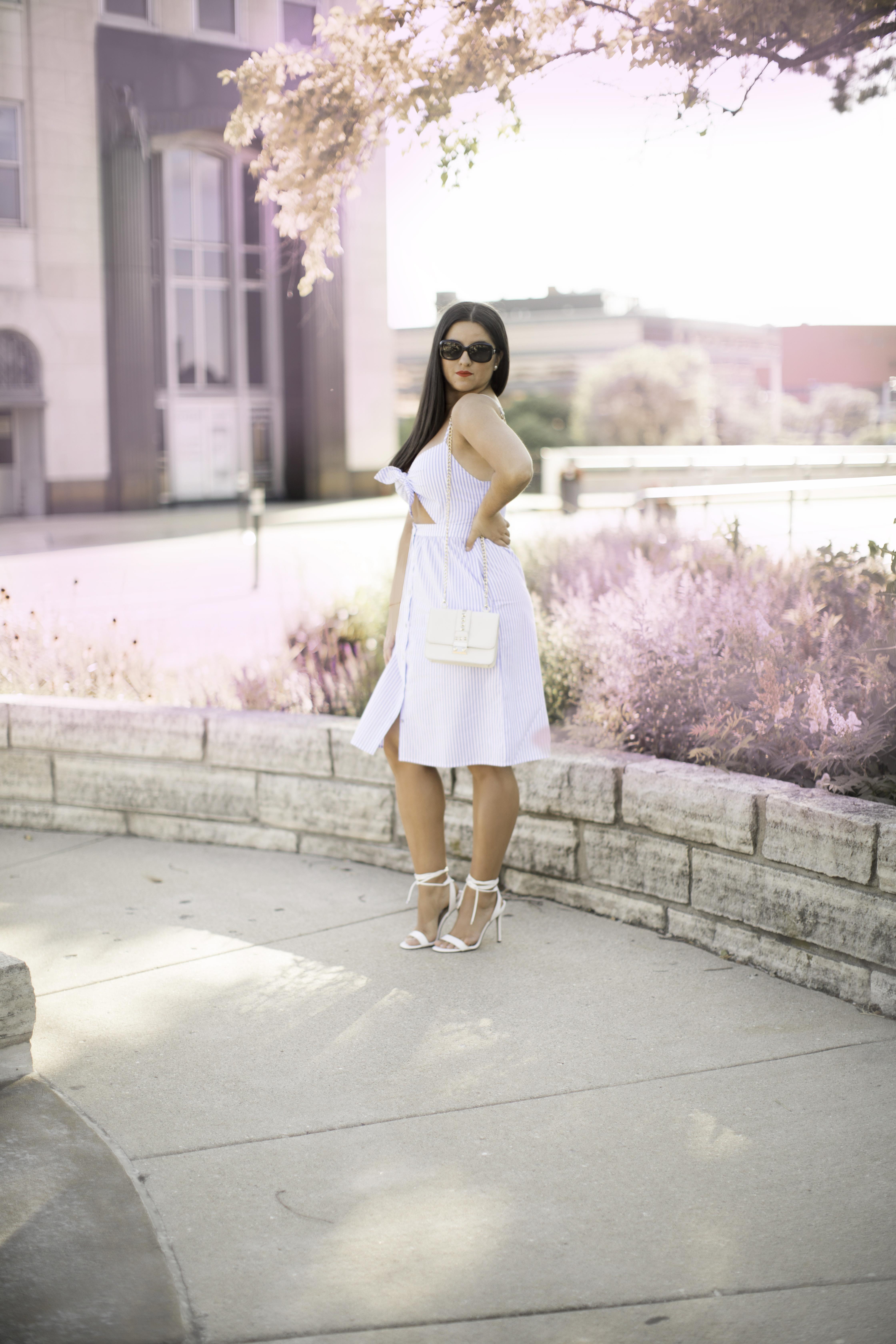 forever21 fashion, blue striped dress, baily lamb fashion blogger, chicago blogger, midwest blogger