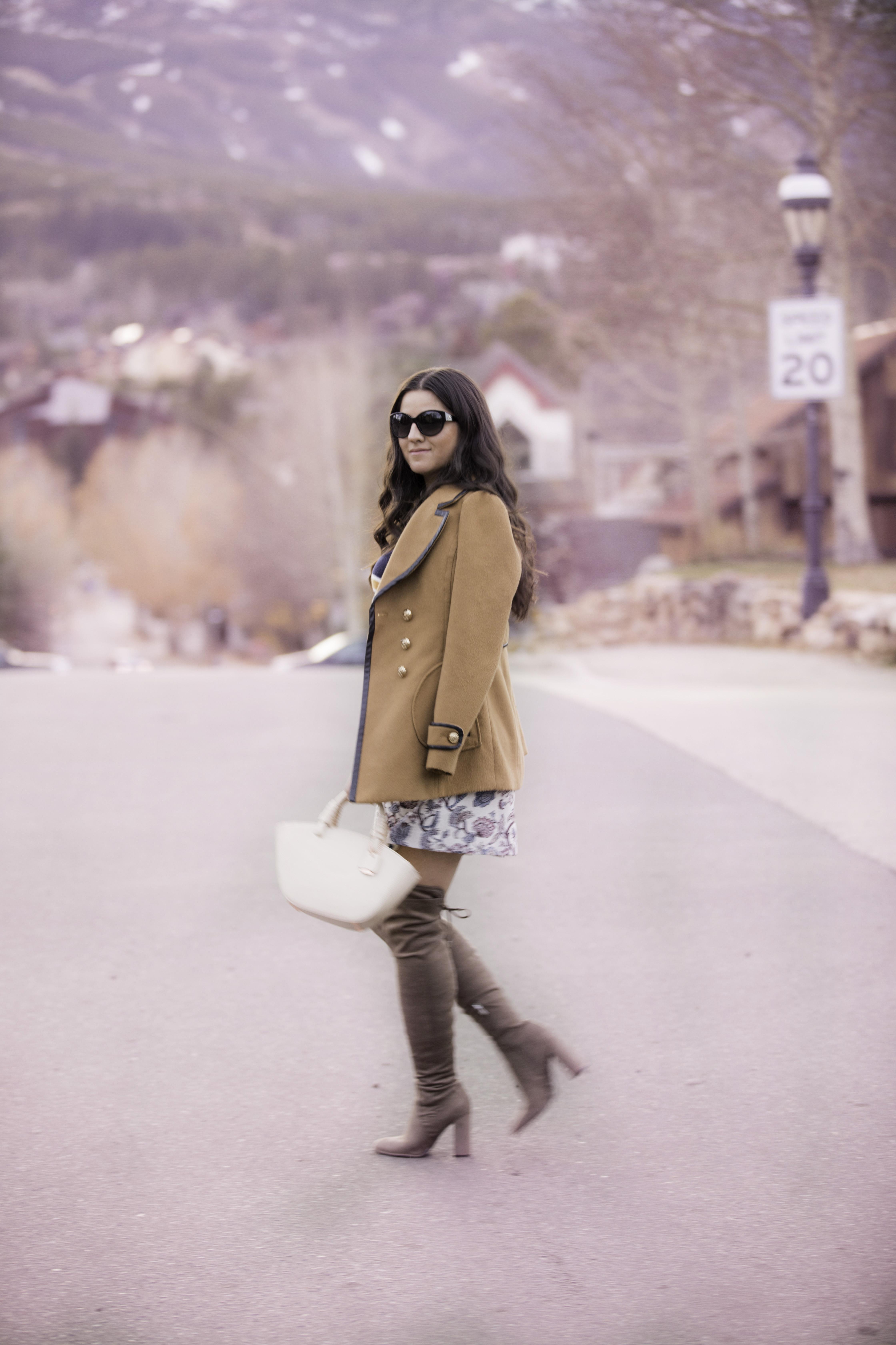 most recent handbag trend, loft fall fashion, loft fall sweater, loft floral skirts, stewart weitzman over the knee boots dupe, baily lamb