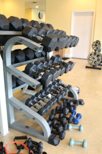 Image of the free weights rack at Rx Fitness