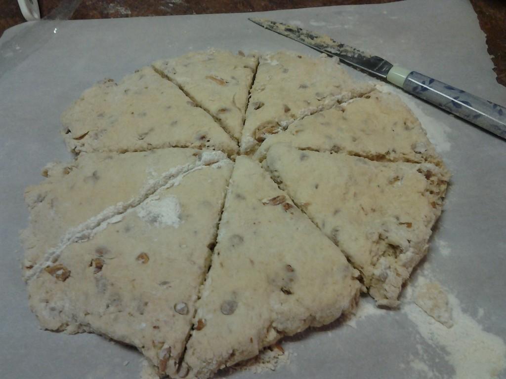 Scone dough - cut into wedges